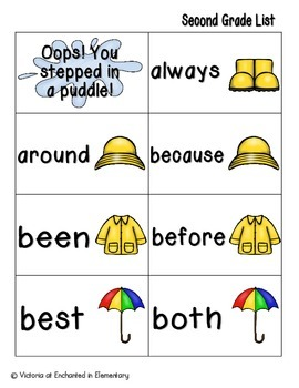 April Showers Sight Words! Second Grade List Pack