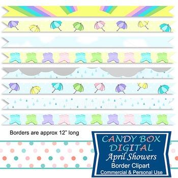 April Showers Spring Digital Ribbon Borders Clip Art