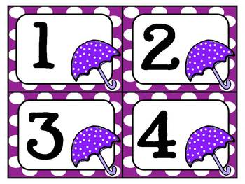 April Showers Umbrella Number Cards 1 - 10