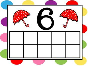 April Showers Umbrella Ten Frames - Completed and Blank