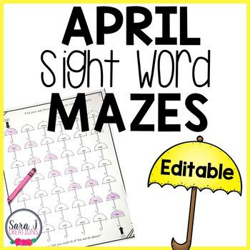 April Sight Word Mazes