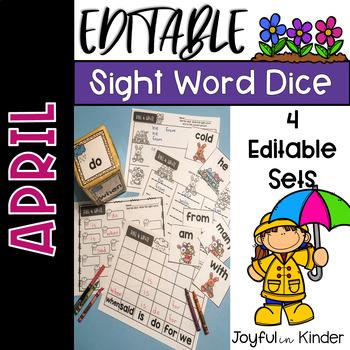 April Sight Word Roll {EDITABLE}