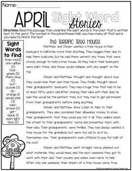 April Sight Word Stories