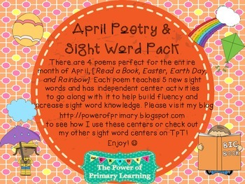 April Sight Word and Poetry Center Work