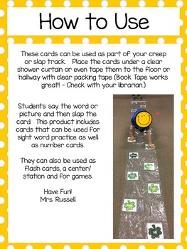 April Sight Words and Number Creep Track Cards