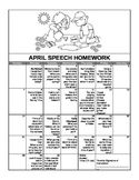 April Speech Homework Calendar