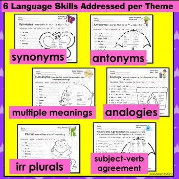 April Speech Therapy Upper Elementary Vocabulary & Grammar Themed Worksheets
