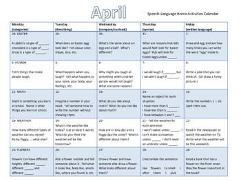 April Speech and Language Homework Calendar (English and Spanish)