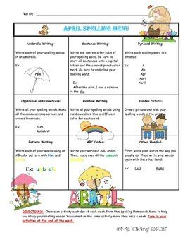 April Spelling Menu