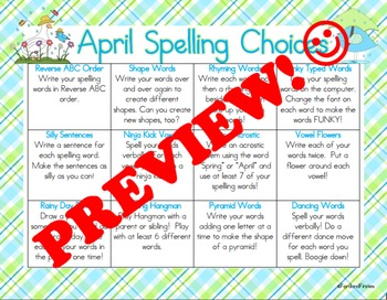 April Spelling Homework Choices