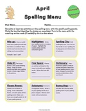 April Spelling Menu - 9 ways for students to learn their s