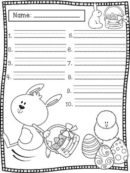 April Spelling Test Templates
