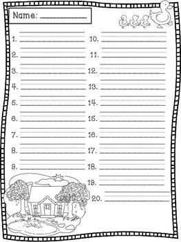 April Spelling Test Templates