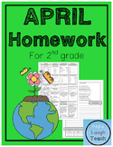 2nd Grade Spiral Language Arts Homework - April