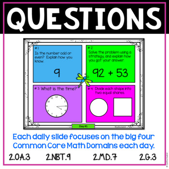 Daily Math Spiral for 2nd Grade - April