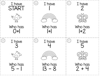 "April Spring 1st Grade ""I Have, Who Has"" Math Game Bundle"