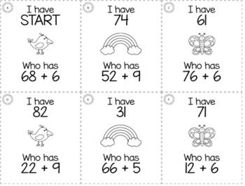 "April Spring 1st Grade ""I Have, Who Has"" Math Game Bundle"