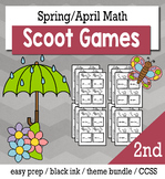 April Spring 2nd Grade {Scoot Game/Task Cards} Math Bundle