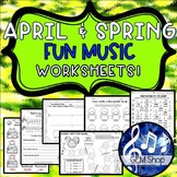SPRING MUSIC Easter Activities Worksheets THEORY Coloring