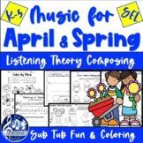 SPRING MUSIC - Easter Fun - No Prep APRIL Worksheets & Songs K-5