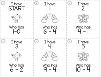"""April Spring Kindergarten """"I Have, Who Has"""" Math Game Bundle"""