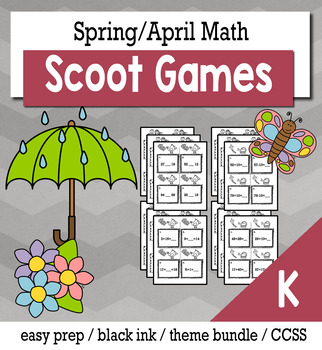 April Spring Kindergarten {Scoot Game/Task Cards} Math Bundle