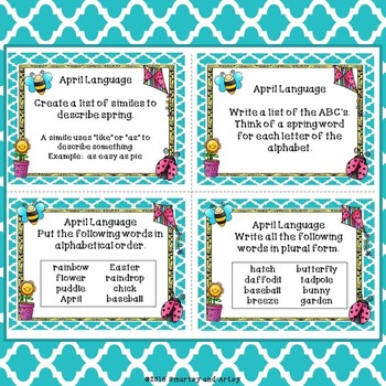 April Spring Task Card Choice Board for Fast Finishers