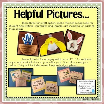 April, Spring, and Easter Bulletin Board Craftivity and Writing Printables