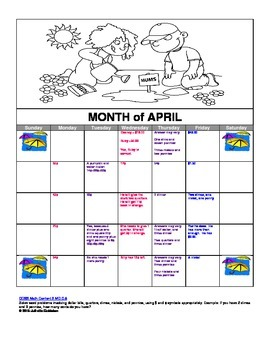 April Story Problem Calendar (All About Money)
