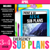 April Sub Plans for 3rd & 4th Grade: Ready-to-use lesson plans & activities