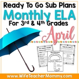 April Sub Plans ELA for 3rd, 4th Grades. Easter Substitute Plans