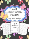 April Subtraction Worksheet Packet-Just Print and Go!