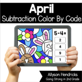 April Subtraction within 10 Color By Code Color Progressio