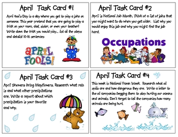 April Task Cards