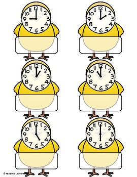 April Telling Time File Folders for Special Education