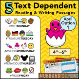 April Text Dependent Reading - Text Dependent Writing Prompts (Option 1)