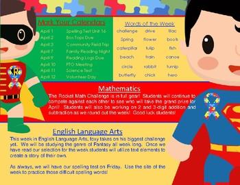 April Theme + Autism Awareness + Newsletter Template