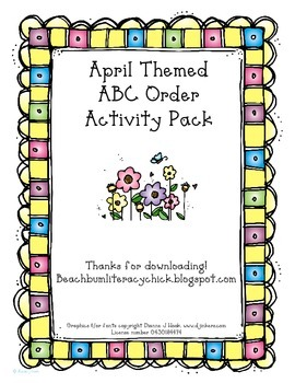 April Themed ABC Order Activity Pages