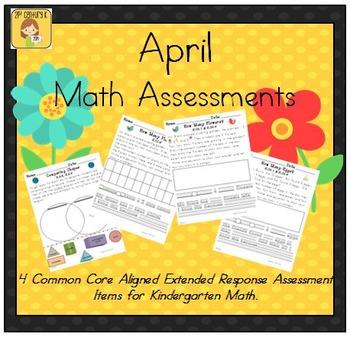 April-Themed Kindergarten Math Extended Response Bundle