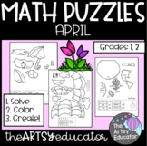 April Themed Math Puzzles - Color by Sum and Difference