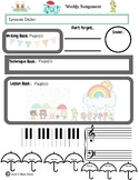 April Themed Piano Lesson Assignment Sheet