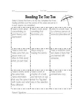 April Tic Tac Toe Reading Log Homework