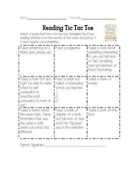 April Tic Tac Toe Reading Log Homework