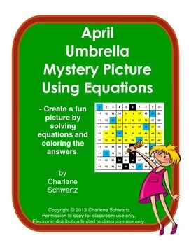 April Umbrella Mystery Picture Using Equations
