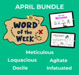 April Word of the Week Vocabulary Bundle: 5 Words (videos,