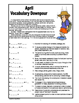 April Vocabulary Downpour