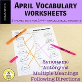 April Vocabulary -Synonyms, Antonyms, Multiple Meanings, F
