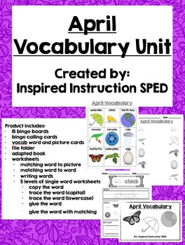 April Vocabulary Unit for Early Elementary or Students with Special Needs