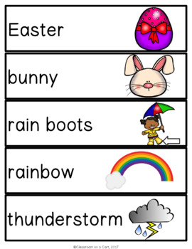 April Vocabulary Unit for Special Education