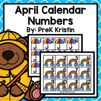 April (Weather Themed) Calendar Numbers
